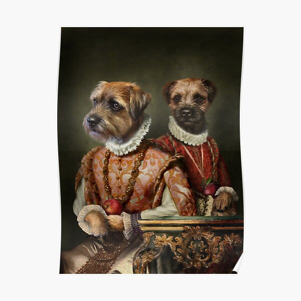 Border Terrier Dog Portrait - Holly and Ivy Poster