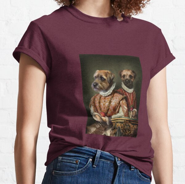 Border Terrier Dog Portrait - Holly and Ivy Classic T-Shirt