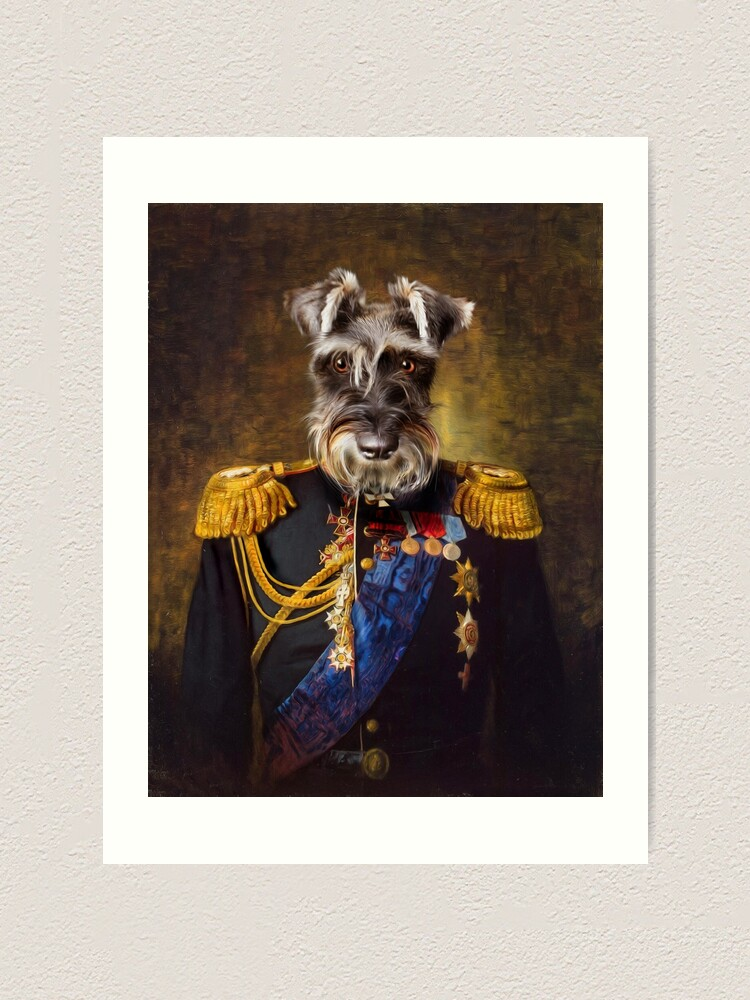 Alternate view of Schnauzer Dog Portrait - Elliott Art Print