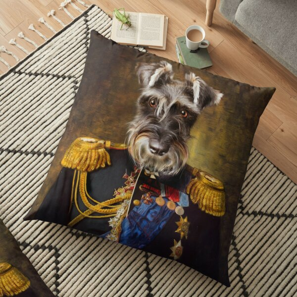 Schnauzer Dog Portrait - Elliott Floor Pillow