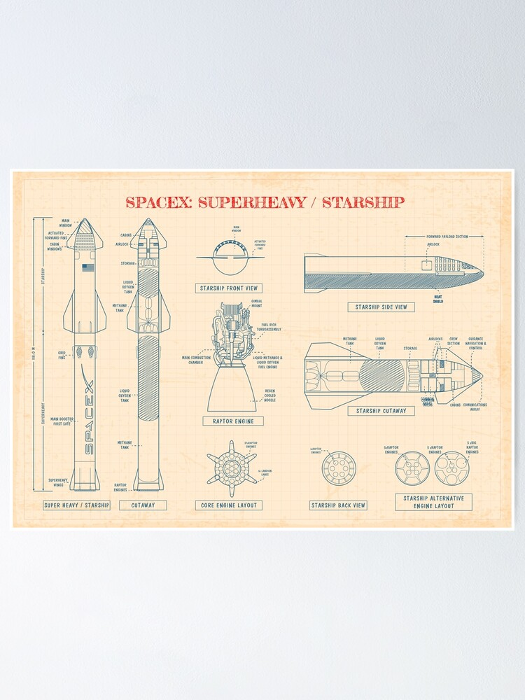 Alternate view of SPACEX: Super Heavy / Starship Blueprint (Paper Color - English) Poster