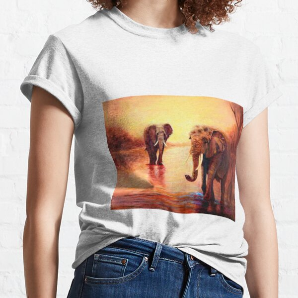 African Elephants at Sunset Classic T-Shirt