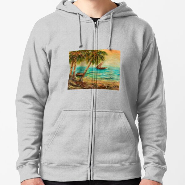 Sail boats on Indian Ocean  Zipped Hoodie