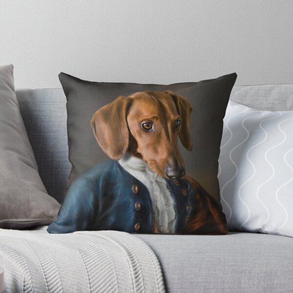 Short Haired Dachshund Portrait - Rueben Throw Pillow