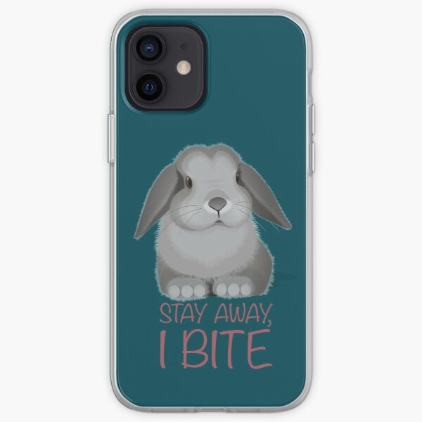 Stay away, I bite. Personal space for bunnies. iPhone Soft Case