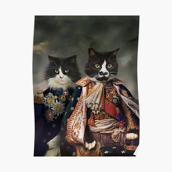 Cat Portrait - Michael and Hero Poster