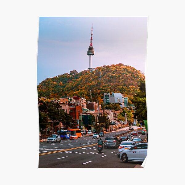 Séoul s'approchant du coucher du soleil - Namsan Tower Poster