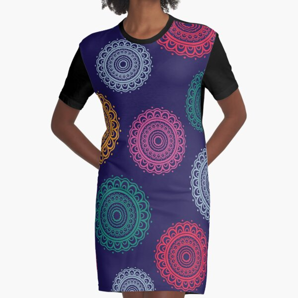 Colorful mandala art design Graphic T-Shirt Dress
