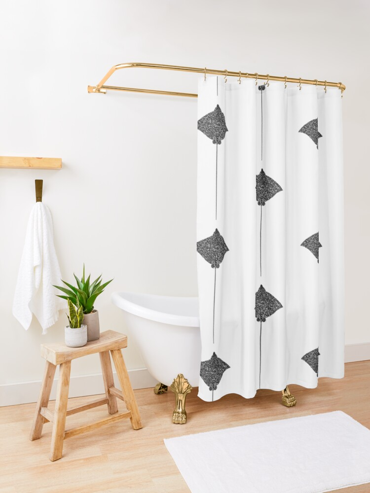 Alternate view of Dots Stingray Shower Curtain