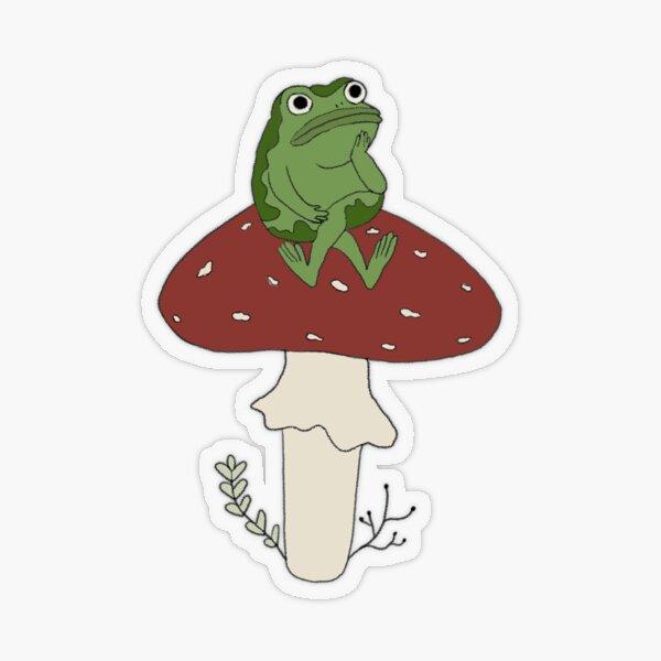 Over the Garden Wall frog on mushroom Transparent Sticker