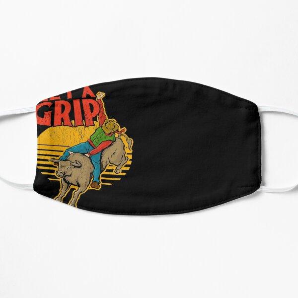 Get A Grip Funny Bull Riding Pun Flat Mask