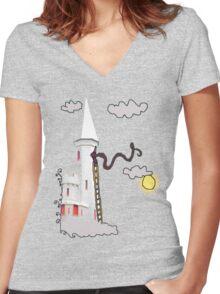 Rapunzel's escape Women's Fitted V-Neck T-Shirt