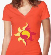 My little Pony - Sunset Shimmer Cutie Mark Women's Fitted V-Neck T-Shirt