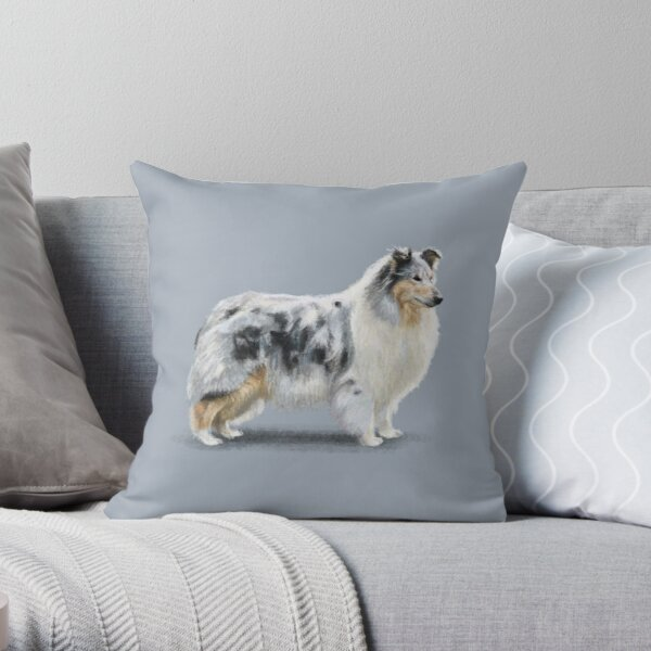 The Merle Rough Collie Throw Pillow