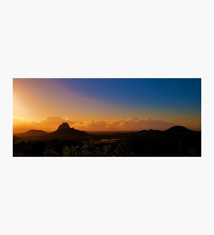 Sunshine spills onto the Glasshouse Mountains Photographic Print
