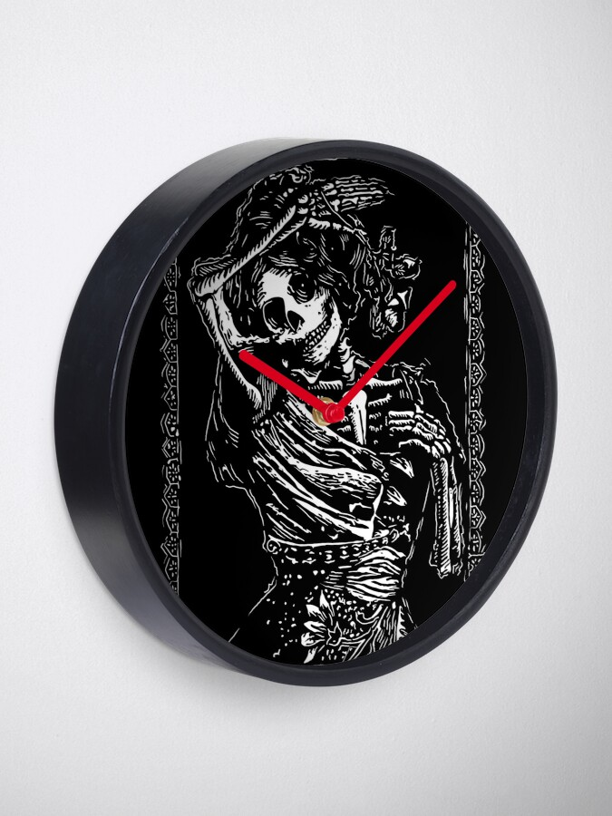 Alternate view of Day of the Dead - Queen of Clubs Clock