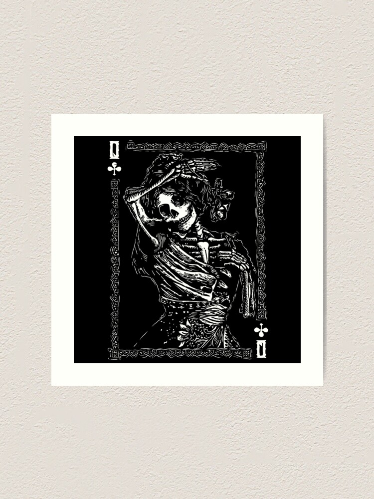 Alternate view of Day of the Dead - Queen of Clubs Art Print