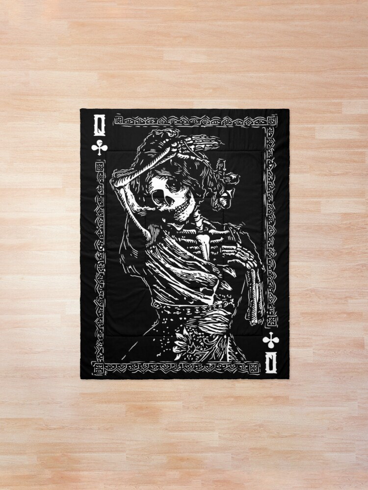 Alternate view of Day of the Dead - Queen of Clubs Comforter