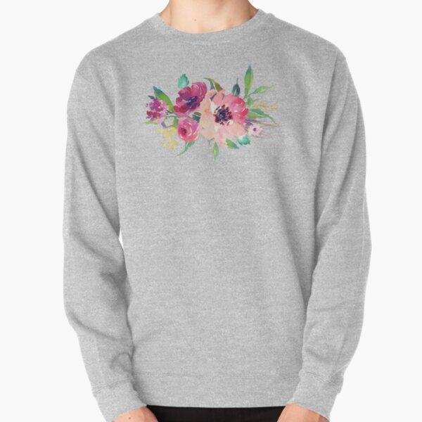 Watercolor Wild Flower Pink Bouquet Pullover Sweatshirt