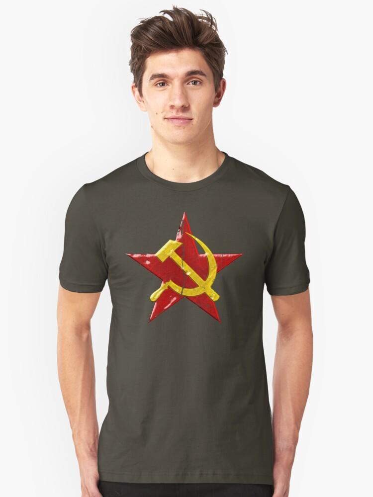 Large distressed Soviet symbol Unisex T-Shirt Front