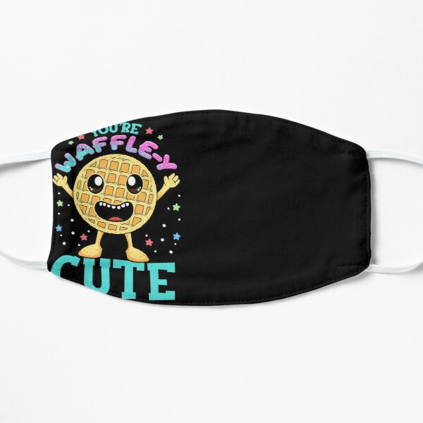 Cute & Funny You're Waffle-y Cute Waffle Pun Flat Mask