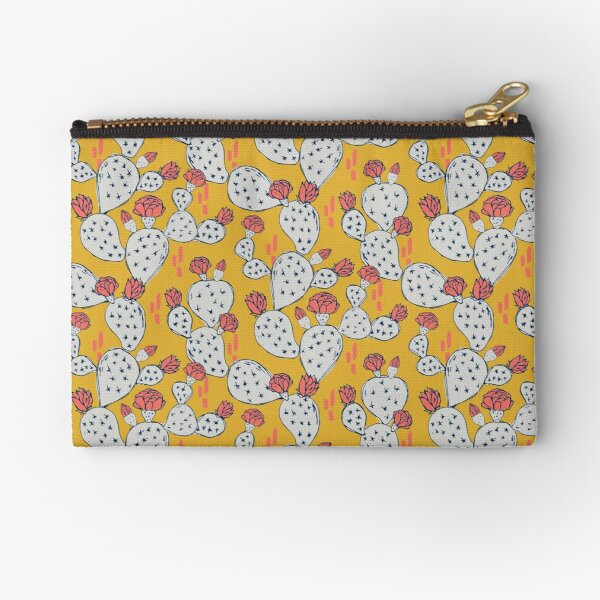 Coral Flowering Cactus on Mustard Yellow Zipper Pouch