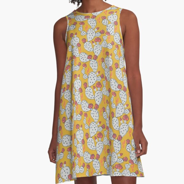 Coral Flowering Cactus on Mustard Yellow A-Line Dress