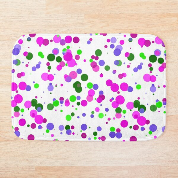 Pink Polka Dot Confetti Bath Mat