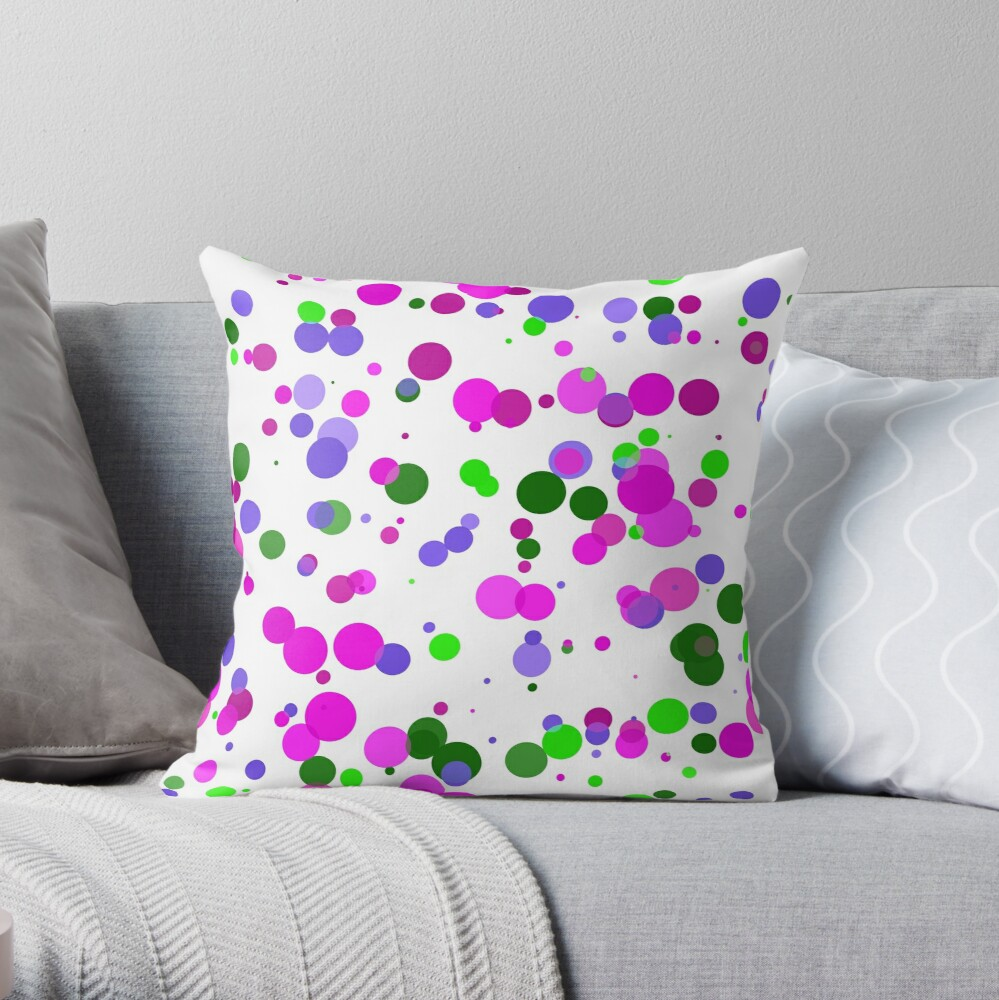 Pink Polka Dot Confetti Throw Pillow