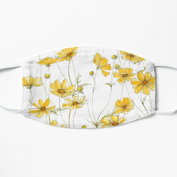 Yellow Cosmos Flowers Flat Mask