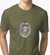 Gorilla Wearing Headphones With Disco Text i rock Tri-blend T-Shirt