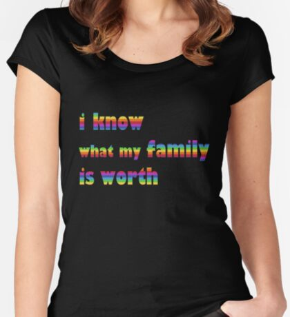 i know what my family is worth - rainbow Women's Fitted Scoop T-Shirt