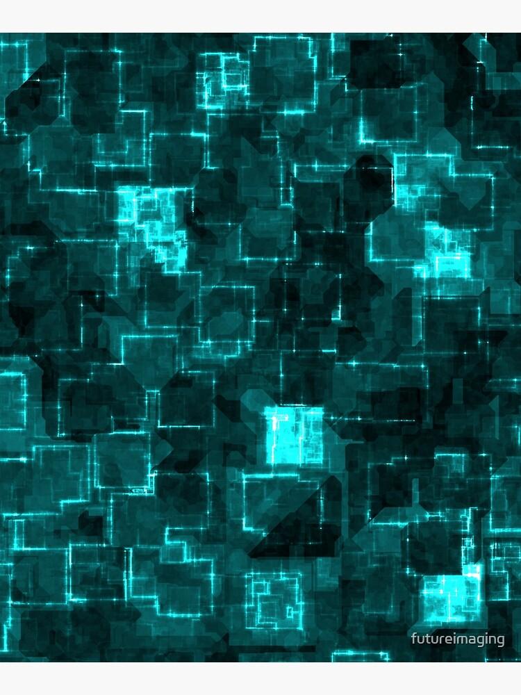 Digital Aqua Glimmer Tiles by futureimaging