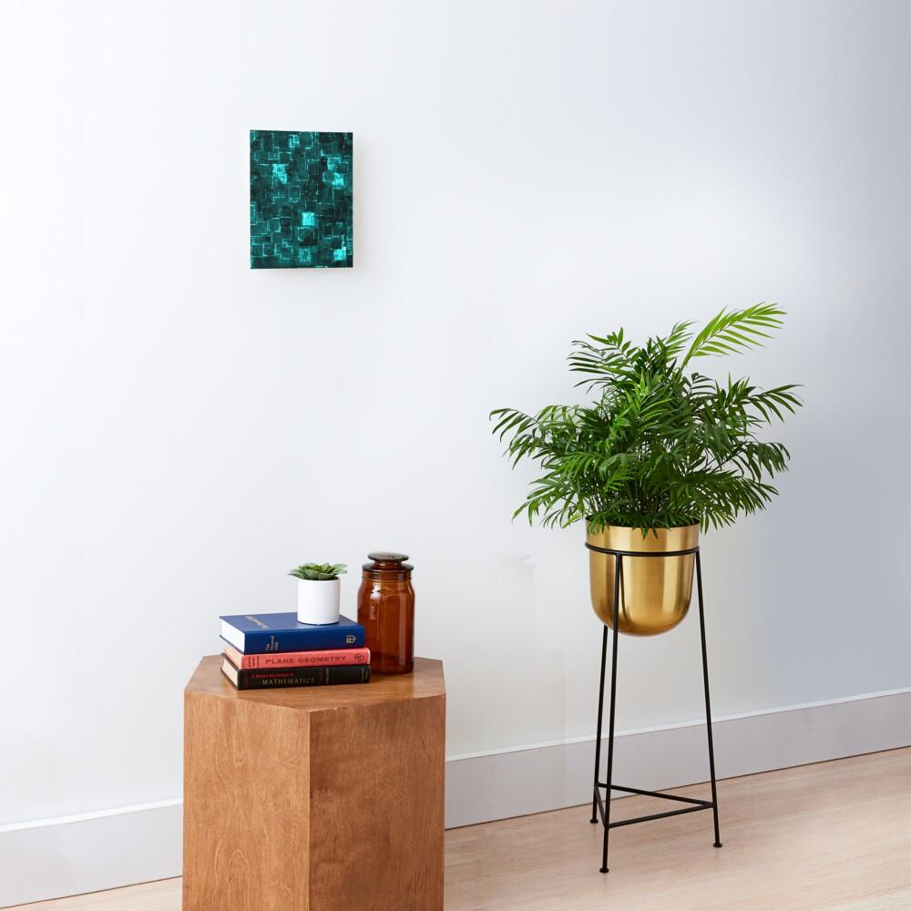 Digital Aqua Glimmer Tiles Mounted Print