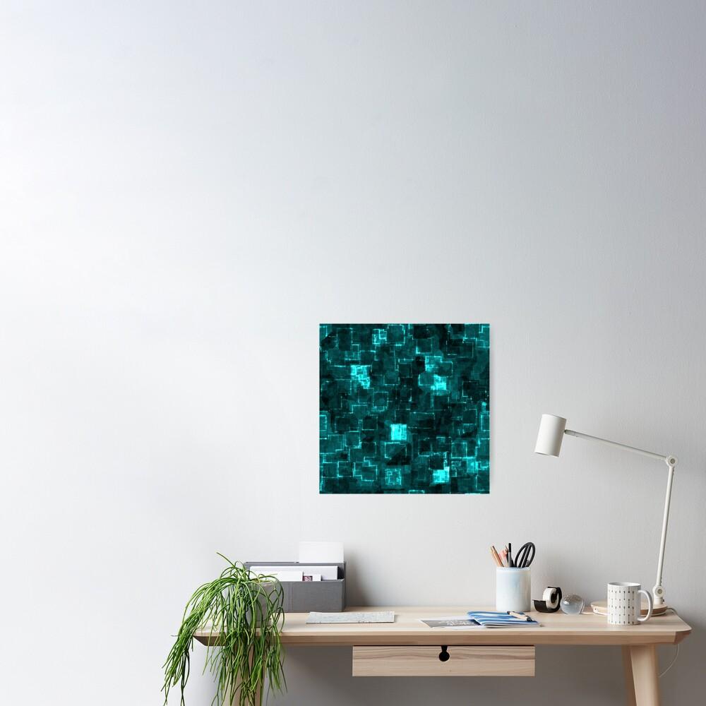 Digital Aqua Glimmer Tiles Poster