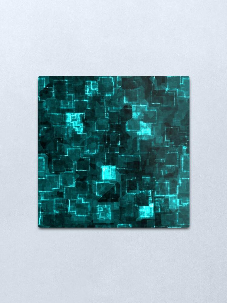 Alternate view of Digital Aqua Glimmer Tiles Metal Print