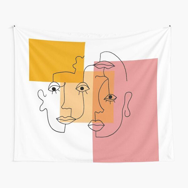 COLOR BLOCK LINE FACES Tapestry