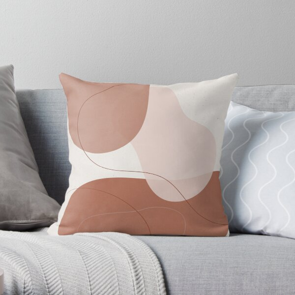 Burnt Orange Abstract Shapes and Lines 1 Throw Pillow