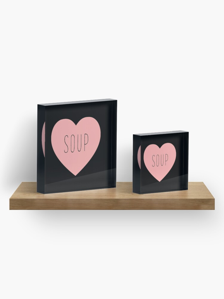 Alternate view of I Love Soup Heart Acrylic Block
