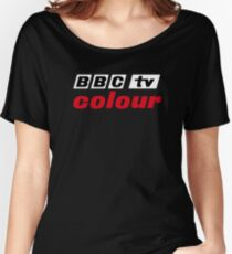 Retro BBC colour logo, as seen at Television Centre (in white) Women's Relaxed Fit T-Shirt