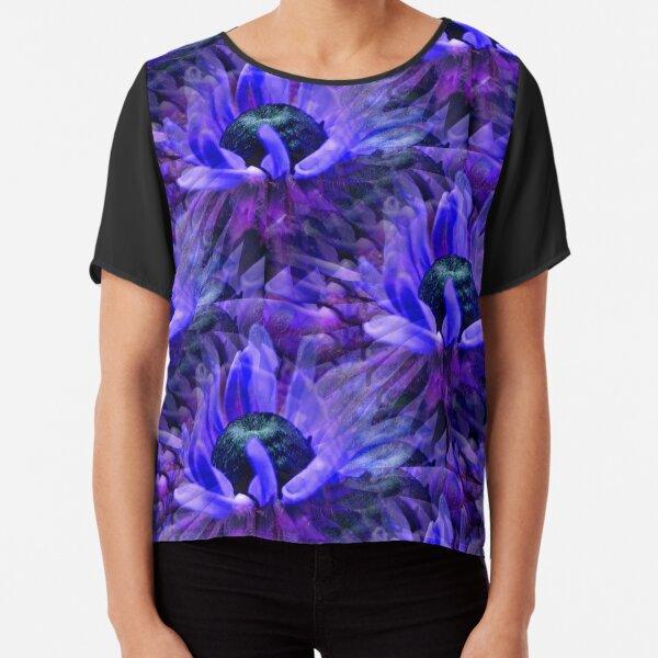 Abstract Purple Daisy Flower Pattern Chiffon Top