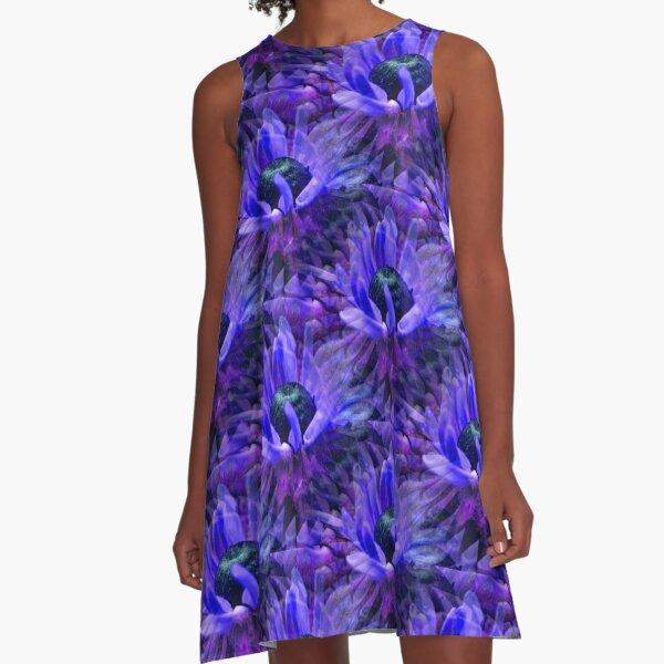 Abstract Purple Daisy Flower Pattern A-Line Dress