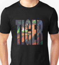 Large Tiger Text With Tiger Camouflaged Unisex T-Shirt