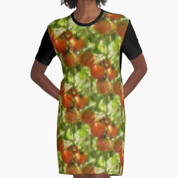 Garden Cherry Tomatoes Nature Pattern Graphic T-Shirt Dress