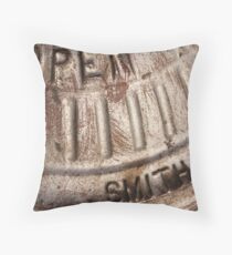 Macro photo of silver fire hydrant Throw Pillow