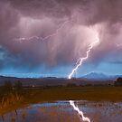 Lightning Striking Longs Peak Foothills 2 by Bo Insogna