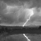Lightning Striking Longs Peak Foothills 2BW by Bo Insogna
