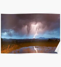 Lightning Striking Longs Peak Foothills  3 Poster
