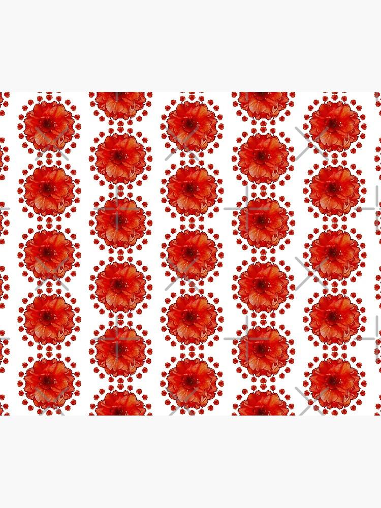 Gardener Gift - Poppy Field Mandala - Round Floral Art - Red Flower Present by OneDayArt