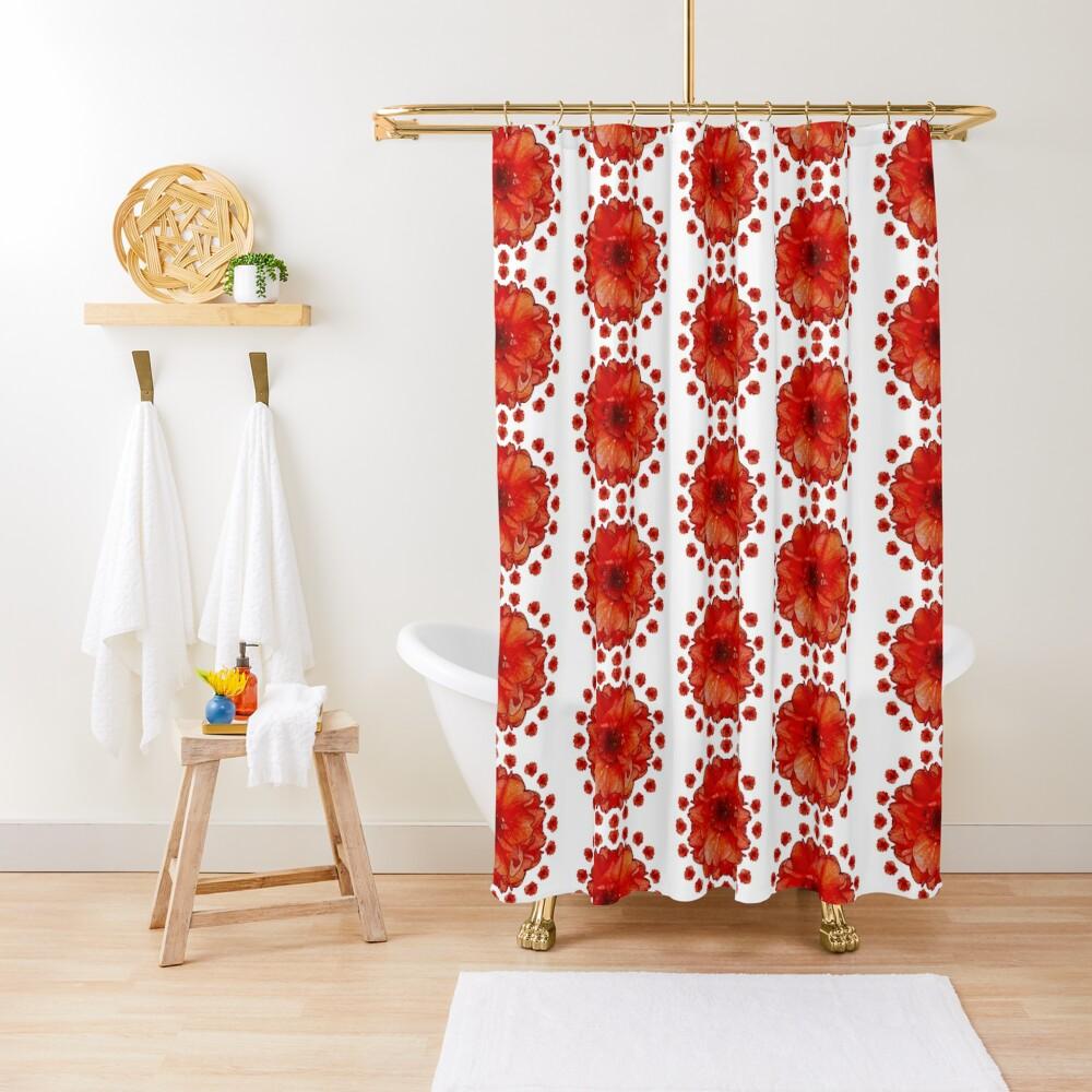 Gardener Gift - Poppy Field Mandala - Round Floral Art - Red Flower Present Shower Curtain